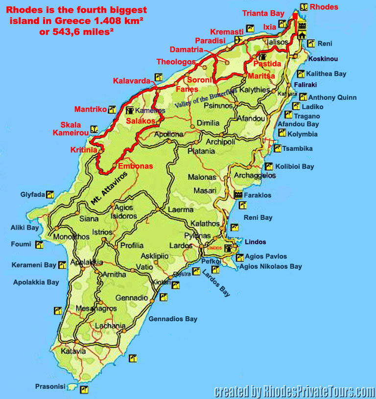 Map, Map of Rhodes, Map of Rhodes Greece, Wine tour route map